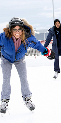 Students hit the ice at outdoor rink